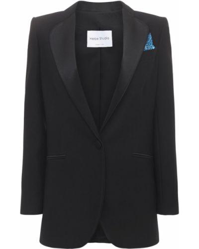 Черный пиджак с карманами с манжетами Hebe Studio