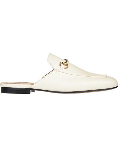 Кожаные мюли - белые Gucci