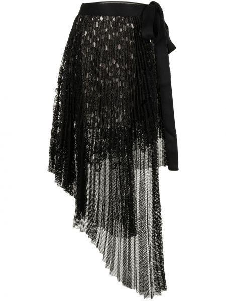 Ажурная плиссированная черная юбка Goen.j