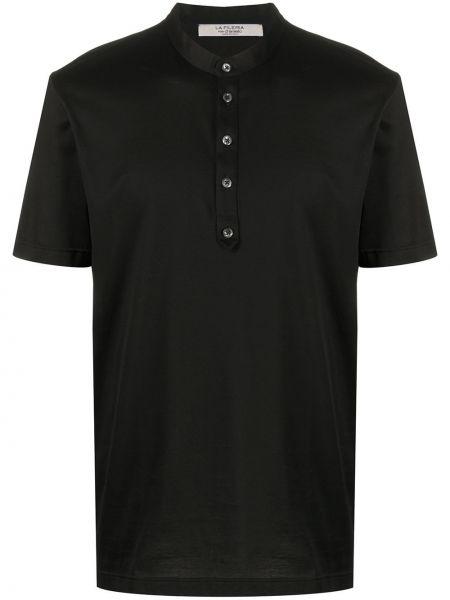 Черная прямая рубашка с короткими рукавами с воротником La Fileria For D'aniello