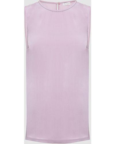 Шелковый топ - фиолетовый Brunello Cucinelli