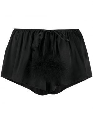 Шелковые черные шорты эластичные с жемчугом Gilda & Pearl