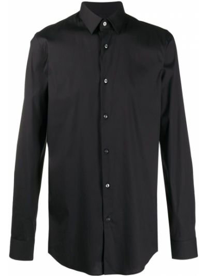Хлопковая черная классическая рубашка с воротником Boss Hugo Boss