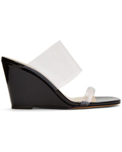 Skórzany czarny sandały na koturnie na pięcie okrągły Maryam Nassir Zadeh