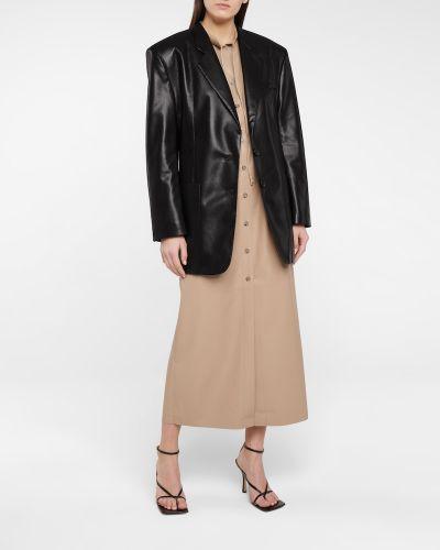 Черный кожаный пиджак Nanushka