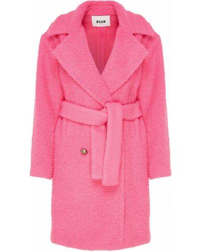 Пальто оверсайз двубортное с поясом с отложным воротником Msgm