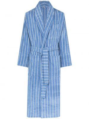 Niebieski szlafrok bawełniany w paski Tekla