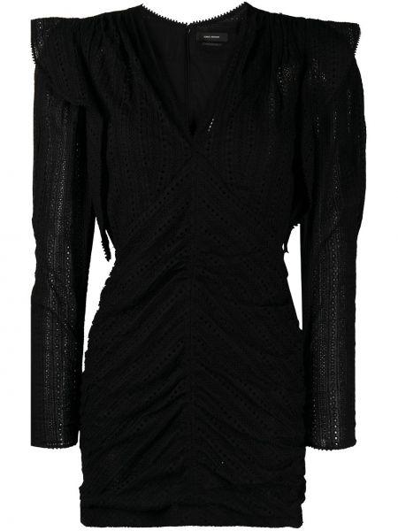 Шелковое кружевное черное платье мини Isabel Marant