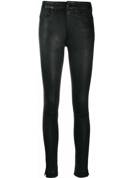 Черные зауженные кожаные брюки Dondup