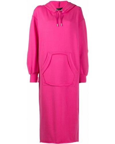 С рукавами розовое платье миди с капюшоном Diesel
