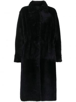 Синее кожаное пальто классическое двустороннее Liska
