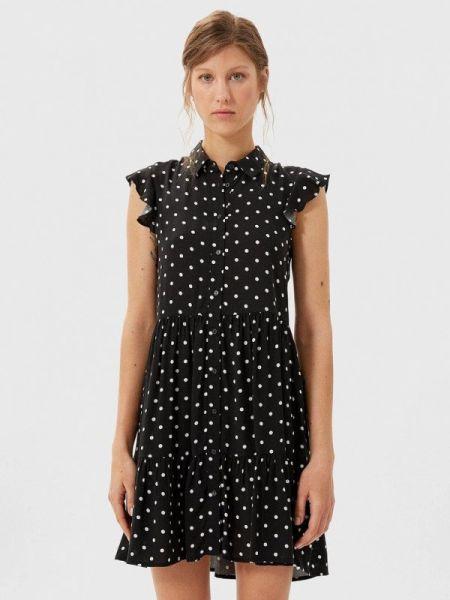 Платье платье-рубашка черное Stradivarius
