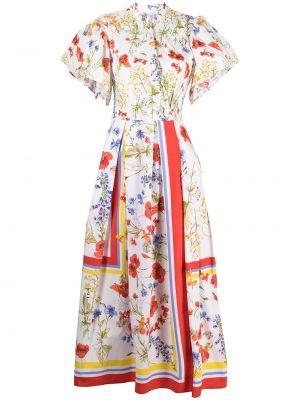 Белое платье миди с короткими рукавами с воротником Sara Roka