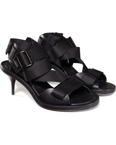 Sandały skórzane - czarne Alexander Mcqueen