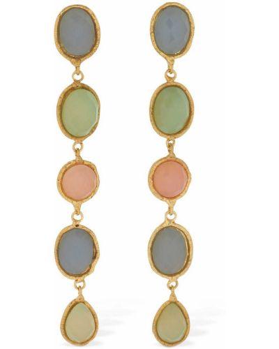 Różowe złote kolczyki sztyfty kwarc Sylvia Toledano