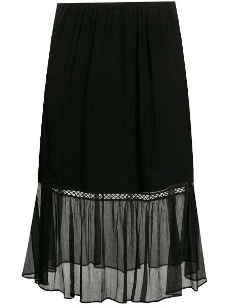 Черная плиссированная юбка мини с вышивкой Mcq Alexander Mcqueen
