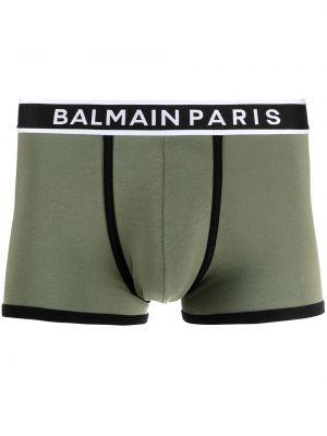 Зеленые хлопковые шорты стрейч Balmain