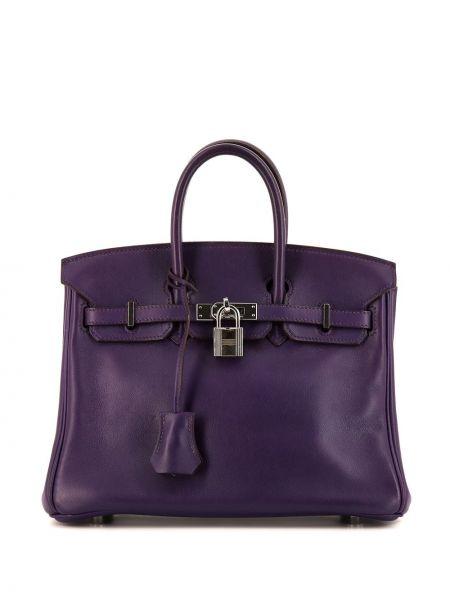 Фиолетовая кожаная сумка с ручками круглая Hermes