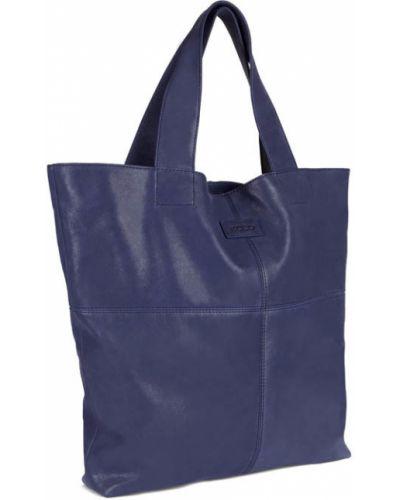 Кожаная сумка шоппер синий Ecco