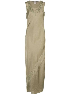 Зеленое платье макси с вышивкой без рукавов Zanini