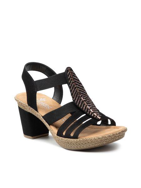 Sandały casual - czarne Rieker