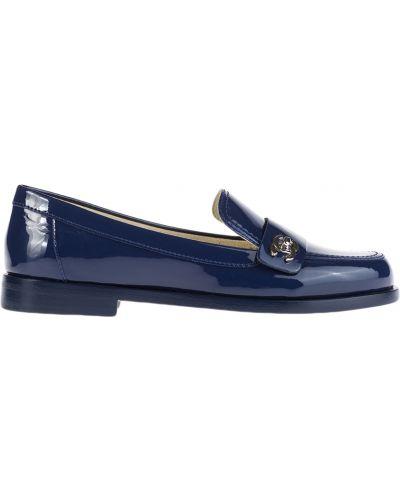 Синие лоферы на каблуке Chanel