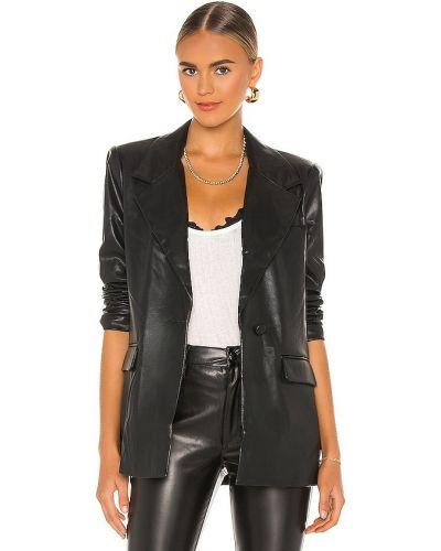 Кожаный черный пиджак с карманами Weworewhat