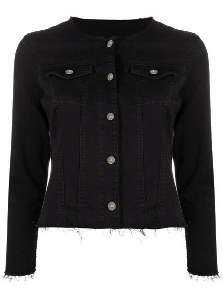 Приталенная хлопковая черная джинсовая куртка 7 For All Mankind