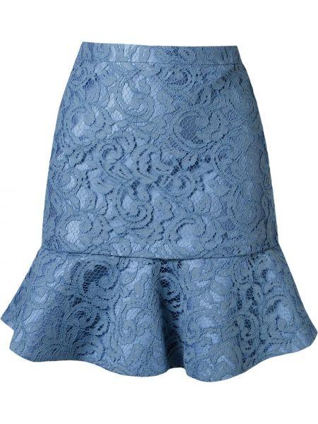 Ажурная синяя юбка на молнии с оборками Martha Medeiros