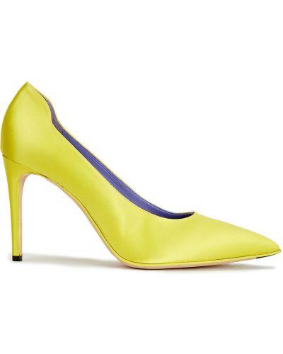 Żółte czółenka skorzane w szpic Victoria Beckham