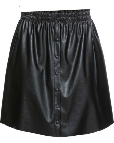 Кожаная юбка на пуговицах на резинке Bonprix