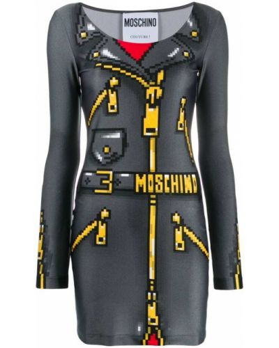 Платье мини длинное с рукавами Moschino