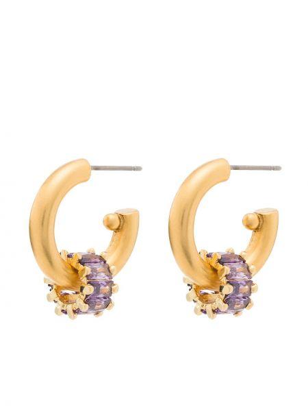 Fioletowe złote kolczyki sztyfty Brinker & Eliza