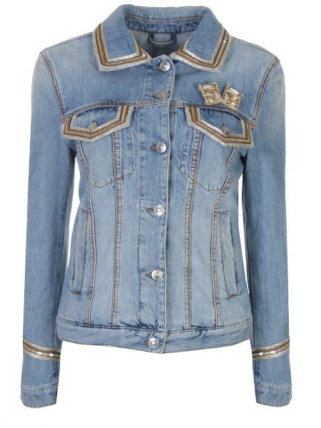 Хлопковая джинсовая куртка с воротником на пуговицах с карманами Ermanno Scervino