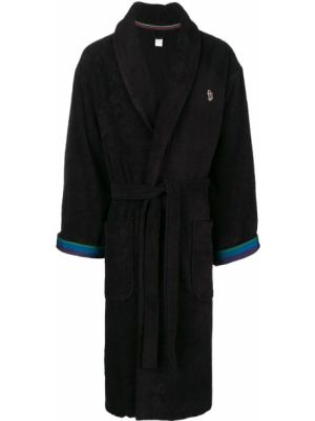Czarny szlafrok bawełniany w paski Paul Smith