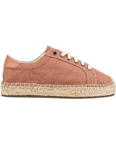 Розовые кроссовки на платформе на шнурках Soludos