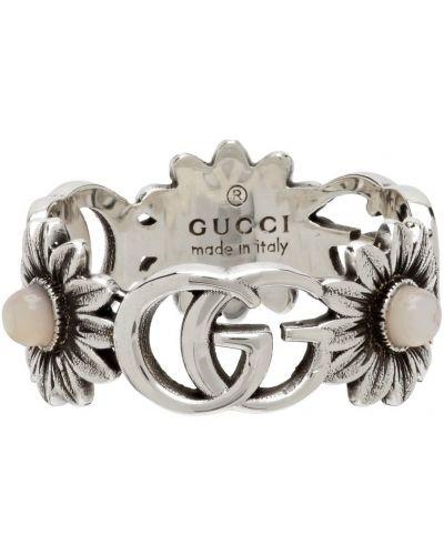 Różowy pierścionek srebrny Gucci