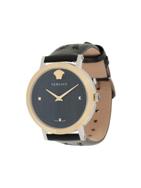 Czarny złoty zegarek na skórzanym pasku klamry Versace