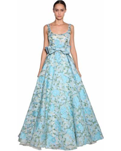 Синее платье макси свободного кроя с вышивкой Luisa Beccaria