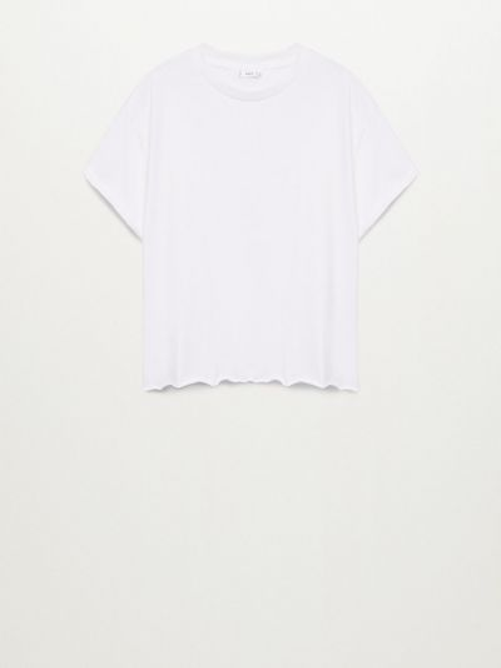 Трикотажная белая футболка с вырезом Mango Kids