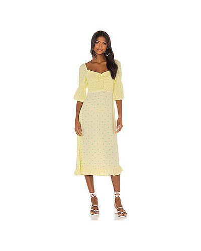 Шелковое платье миди на резинке Faithfull The Brand
