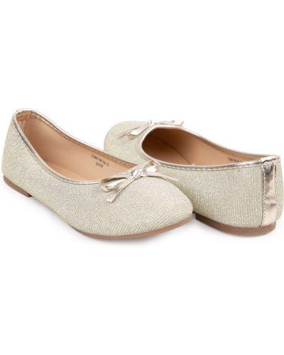 Текстильные туфли на торжество золотые Santa&barbara