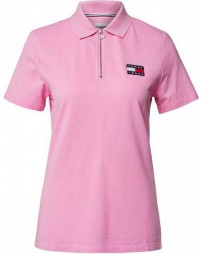 T-shirt bawełniana - różowa Tommy Jeans