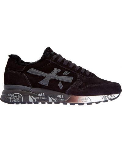 Кожаные черные кроссовки с мехом Premiata