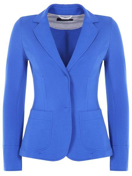 Синий повседневный приталенный пиджак с воротником Capobianco