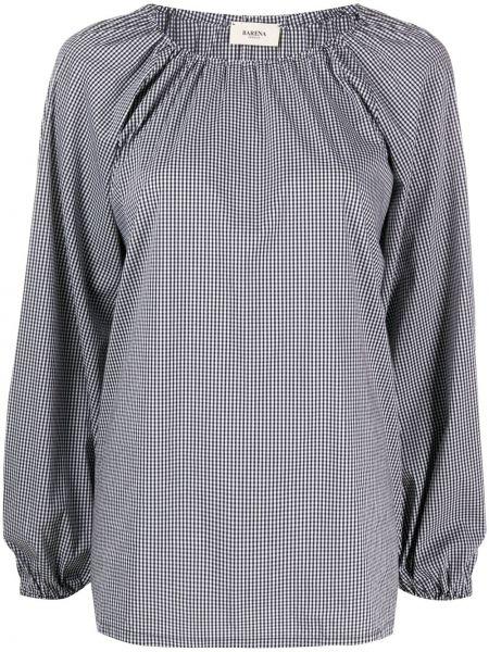 Хлопковая белая прямая блузка с длинным рукавом с вырезом Barena