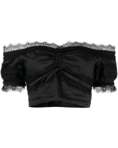Czarna bluzka koronkowa bawełniana Wandering