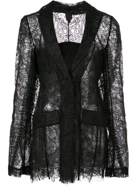 Кружевной черный приталенный пиджак Vera Wang