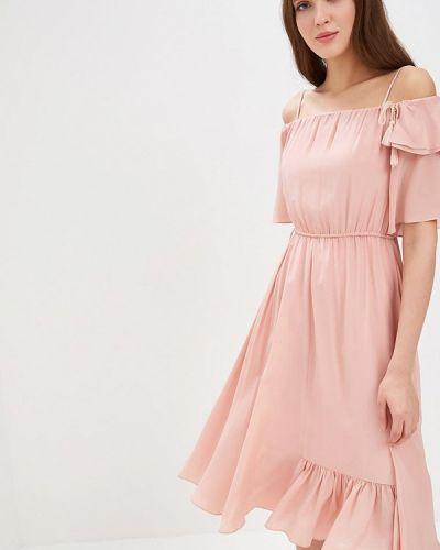 Платье розовое с открытыми плечами Lusio