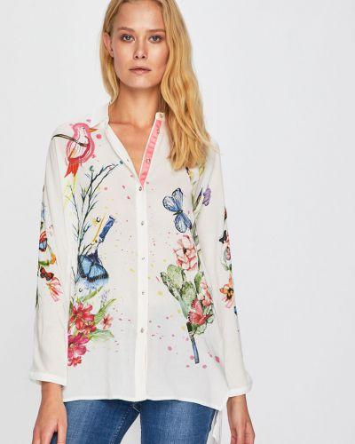 Блузка с длинным рукавом из вискозы белая Desigual